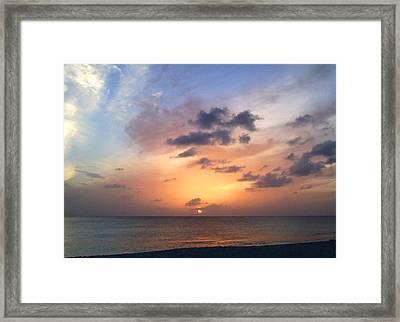 Tiki Beach Caribbean Sunset Framed Print by Amy McDaniel