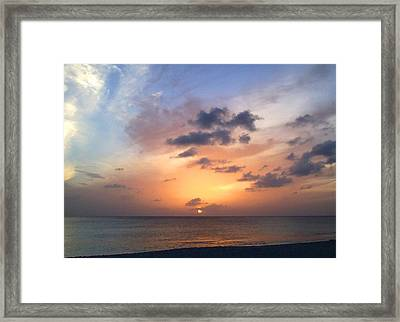 Tiki Beach Caribbean Sunset Framed Print