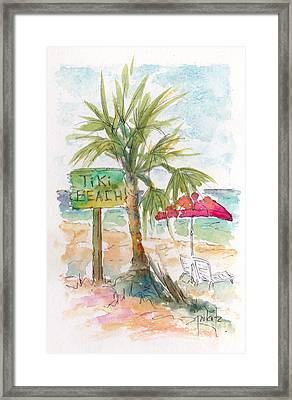 Tiki Beach Grand Cayman Framed Print by Pat Katz