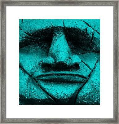 Tiki Mask Aquamarine Framed Print by Rob Hans