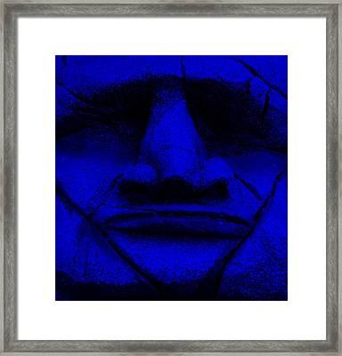 Tiki Mask Blue Framed Print by Rob Hans