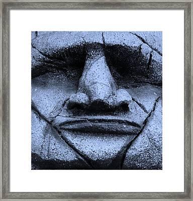 Tiki Mask Cyan Framed Print by Rob Hans