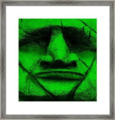 Tiki Mask Green Framed Print by Rob Hans