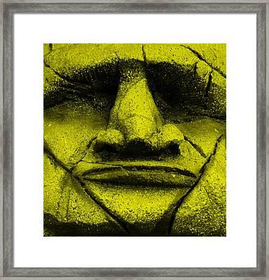 Tiki Mask Yellow Framed Print by Rob Hans