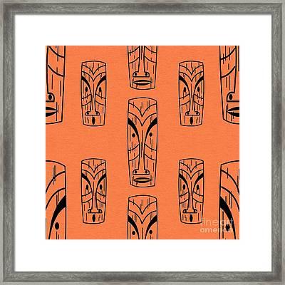 Tiki On Orange Pillow Framed Print