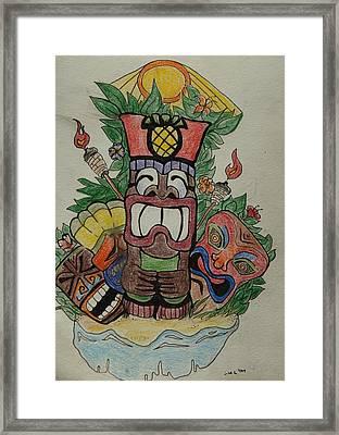 Tiki Time Framed Print by Lorri Lanig