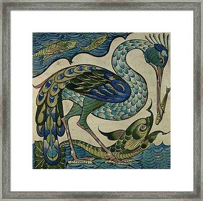 Tile Design Of Heron And Fish Framed Print by Walter Crane