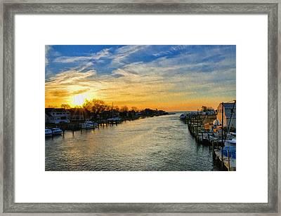 Tilghman Narrows At Sunrise Framed Print by Bill Cannon