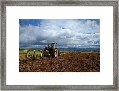 Tillage, Tractor Preparing Field Framed Print