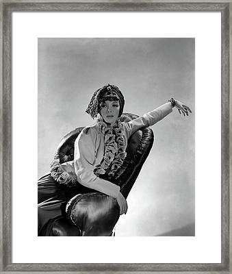Tilly Losch Wearing A Turban Framed Print by Horst P. Horst