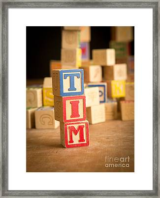 Tim - Alphabet Blocks Framed Print by Edward Fielding