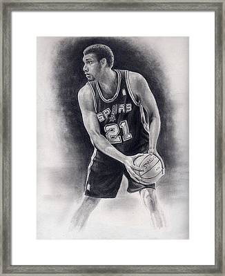 Tim Duncan Pencil Drawing Framed Print