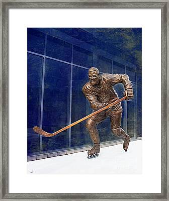 Tim Horton Bronze Statue Framed Print by Barbara McMahon