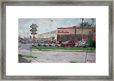 Tim Hortons By Niagara Falls Blvd Where I Have My Coffee Framed Print by Ylli Haruni