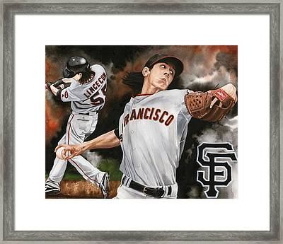 Tim Lincecum Framed Print by Joshua Jacobs