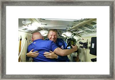 Tim Peake Arriving At Iss Framed Print