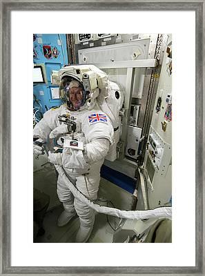 Tim Peake Preparing For Spacewalk Framed Print