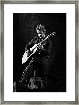 Tim Reynolds On Guitar Black And White Framed Print
