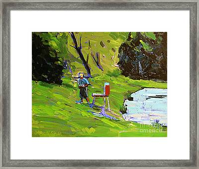Tim The Plein Air Painter After Monet Framed Print by Charlie Spear