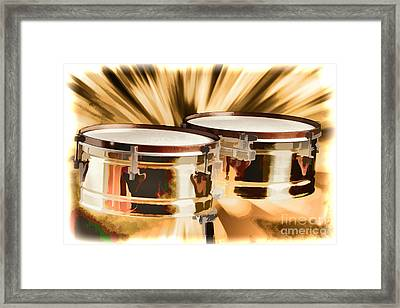 Timbale Drums For Latin Music Painting In Color 3326.02 Framed Print by M K  Miller