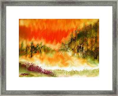 Framed Print featuring the mixed media Timber Blaze by Seth Weaver
