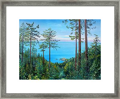 Framed Print featuring the painting Timber Cove On A Still Summer Day by Asha Carolyn Young