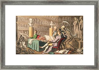 Time And Death Their Thoughts Imparton Framed Print by Thomas Rowlandson