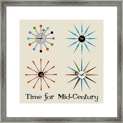 Framed Print featuring the digital art Time For Mid-century by Donna Mibus