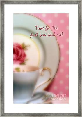 Time For Tea Just You And Me Framed Print by Karen Lewis
