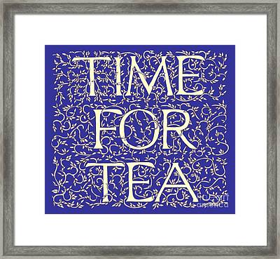 Time For Tea Royal Blue Framed Print