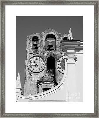 Time For The Bells Bw Framed Print by Mel Steinhauer
