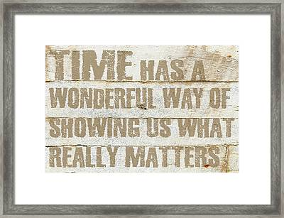 Time Has Framed Print by Cora Niele
