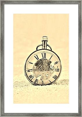 Time In The Sand In Sepia Framed Print by Rob Hans