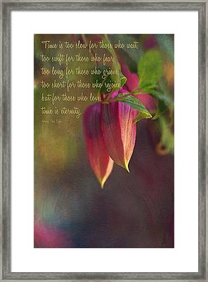 Time Is... Framed Print by Maria Angelica Maira