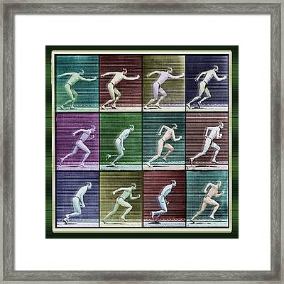 Time Lapse Motion Study Man Running Color Framed Print