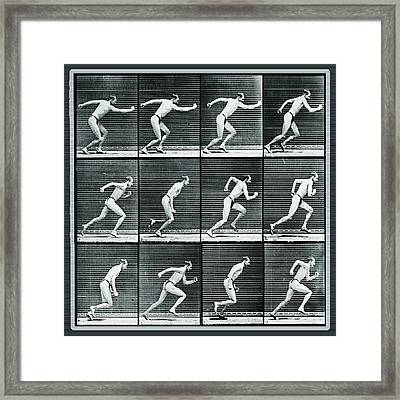 Time Lapse Motion Study Man Running Monochrome Framed Print