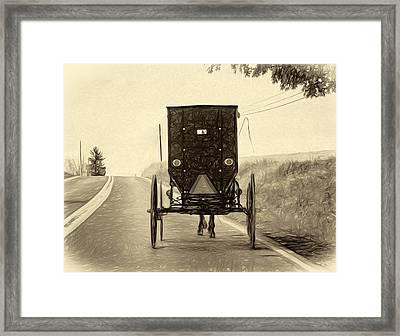 Time Machine -  Paint Sepia Framed Print