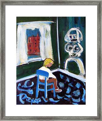 Time Out For De Kooning In A Chair In A Corner Framed Print by Betty Pieper