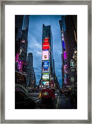 Time Square At Dusk Framed Print by Chris Halford