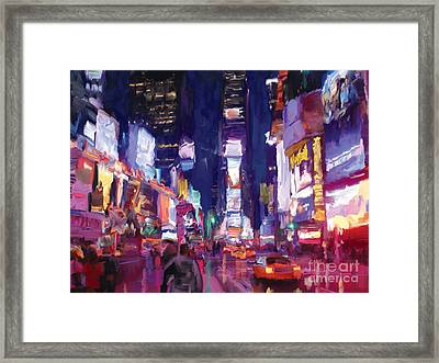 Framed Print featuring the painting Amy's Time Square In The Rain by Tim Gilliland