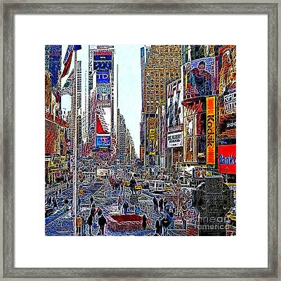 Time Square New York 20130503v8 Square Framed Print by Wingsdomain Art and Photography