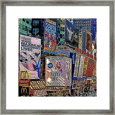 Time Square New York 20130503v9 Square Framed Print by Wingsdomain Art and Photography