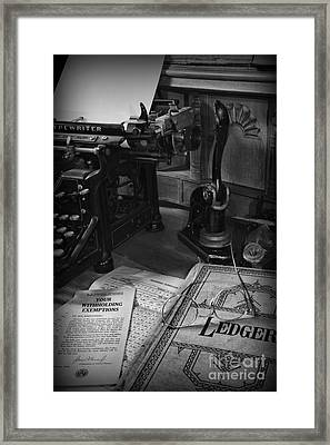 Time To Pay Your Taxes Black And White Framed Print by Paul Ward