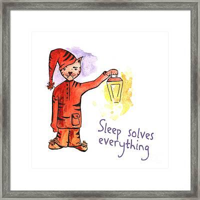 Time To Sleep Cat Pajamas Poster Framed Print by Jolanta Meskauskiene
