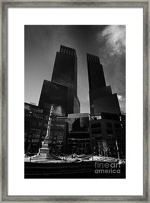 Time Warner Center And Statue Of Christopher Columbus On Columbus Circle New York City Framed Print by Joe Fox