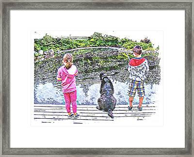 Timeless Activities - Trouting - Children - Summer Fun Framed Print