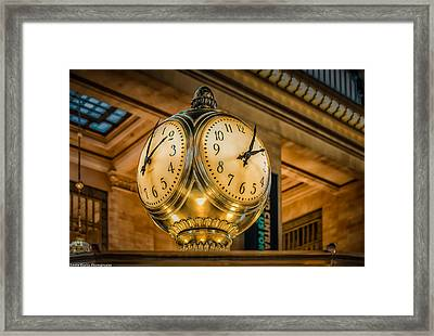 Framed Print featuring the photograph Timepiece At Grand Central Station New York by Linda Karlin