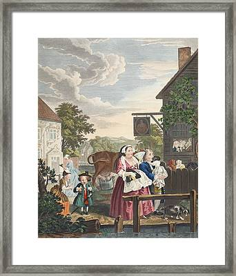 Times Of Day, Evening, Illustration Framed Print by William Hogarth