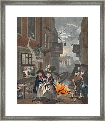 Times Of Day, Night, Illustration Framed Print by William Hogarth