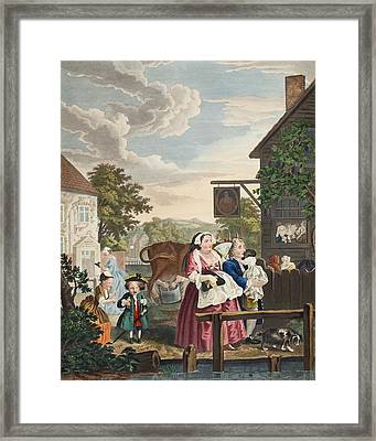 Times Of The Day Evening, Illustration Framed Print by William Hogarth